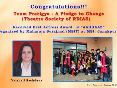 Pratigya Best Actress Award